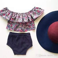 big baby diapers - 2016 Ins baby girl toddler Summer outfits floral tops shirt Lace lotus leaf collar Big collar Sexy Tutu tops shorts bloomers diaper covers