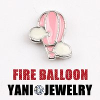 air rhodium - Fashion Locket floating charms Got Air Balloon Charm Floating Locket Charms For Glass Living Locket