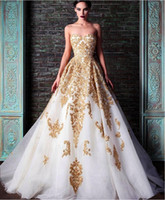 accent buttons - 2016 New Evening Dresses Rami Kadi Sweetheart Golden Appliques Beaded Crystal Accented White A Line Formal Prom Dresses New Fashion