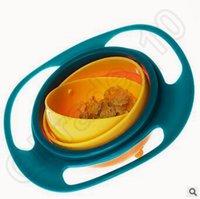 baby feeding dish - 50pcs CCA3739 Creative Baby Gyro Feeding Toy Bowl Dishes Non Spill Universal Rotate Technology Funny Gif Spill Proof Gyro Feeding Bowl