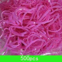 Wholesale New rose pink Elastic Bands Fine Braiding Poly Rubber Bands In Pack cm diameter