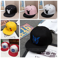 Wholesale Adult Poke Go Baseball Caps Kids Fashion Poke Hats Casual Pikachu Caps Poke Ball Snapbacks Hats Pocket Monster Hats Hip Hop Caps B728