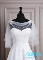 Wholesale 2016 Light Ivory Tulle Shoulder with Lace Appliques Bead Buttons High Round Neckline Bridal Wedding Jacket Bolero