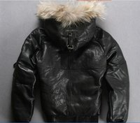 avirex leather - AVIREX leather down jackets with fur hoody sports bomber down coats thicken sheepskin leather jackets