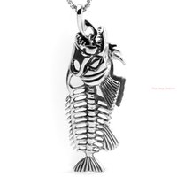 big link biker necklace - Popular Personality L Stainless Steel Hollow Fish Bone Biker pendant necklace Heavy Big Jewelry