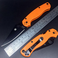 Wholesale J J Spyderco C81 ParaMilitary PM2 CTS XHP black blade Tactical Folding Knife Orange G10 Handle Survival Hunting Bowie Combat EDC Knifes