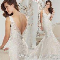 Wholesale New Arrival Hot Sale Fashion Diamond Sweety Royal Palace Halter Lace Fishtail Tail Mermaid V Collar Princess Bride Wedding Dress