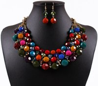 beaded circle earrings - fashion chokers Bohemian color beaded statement necklace necklace earrings fashion diamond crystal jewelry set colors hot sale