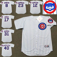 andre dawson - Men white ANDRE DAWSON SHAWON DUNSTON MARK GRACE RYNE SANDBERG GREG MADDUX Chicago Cubs throwback Baseball Jersey stitched