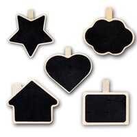 Wholesale 20PCS Wooden Chalkboard Message Clip MixedLot Creative Stationery Mini Blackboard PriceTag Multi function Tag Holder