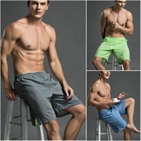 beach comfort - Men s beach loose shorts soild color summer thin breathable comfort casual men s linen shorts home shorts