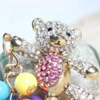 belly bag purse - New Arrive Fashionable Charm Pendant Bear Pink Belly Arm Move Bead Pearl Cute Rhinestone Crystal Purse Bag Key Chain Gift