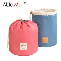 big red box storage - 2016 New Makeup Organizer Storage Box Barrel Shaped Travel Organizer Big Capacity Drawstring Bags Necessaire Women Cosmetic Bag