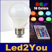 Wholesale 3W W W W W E27 Led RGB Bulbs Light Colors Change For Xmas Party Lighting AC V IR Remote Control