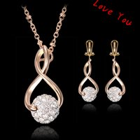 Wholesale Bride Wedding Jewelry Sets Zircon Crystal Ball Pendant Necklace Dangle Earrings Jewelry Set for Women Costume Dress Jewelry Accessories