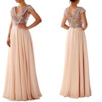 Wholesale Long Dresses Uk Online - Gold Sequin Bridesmaid Dresses Online UK 2016 Eleagnt V Neck Short Sleeve A Line Floor Length Chiffon Wedding Guest Maid Of Honor Dress
