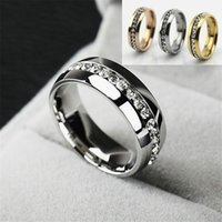 Wholesale Stainless Steel Gold Silver Rings for Women Men Fashion Crystal Wedding Ring Womens Mens Diamond engagement ring Luxury Jewelry men s Gifts