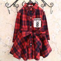 american classics clothing - New Girls Autumn Dress Kids Clothes Classic Plaid Shirt Waist Dress Baby Clothes Long Sleeves Girls Dress