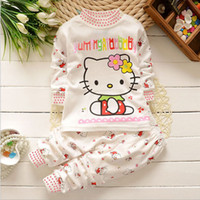 Cheap New Arrival Hello kitty Children clothing sets Baby girl Top+pants suit Kids cute toddler girl clothes 2-5Y