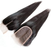 Wholesale 100 Brazilian Malaysian Peruvian Indian Mongolian Hair Top Lace Closure inch Natural Black Straight Human Hair Closure