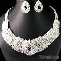 Wholesale Wedding Party Bridal Black Diamante Crystal Necklace Earrings Set Jewelry Prom JC