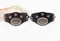 american rider - Hot Sale Rider Harley Motor Cycles Punk Skull Rivet Men Bracelets Wide Leather Bracelet vintage leather Bangles for men