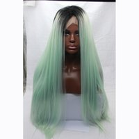 Wholesale Dark Roots Ombre Mint Green Synthetic Lace Front Wigs Heat Resistant Cheap High Quality Silky Straight Glueless Lace Wig
