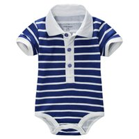 Wholesale Fashion striped baby boys bodysuits handsome newborn body suit infant jumpsuits turn down collar baby clothes rompers