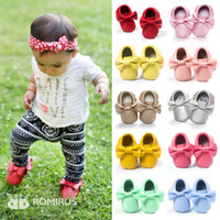 Wholesale 2016 New Hot Baby Shoes Supersoft Pu Leather Infant Kids Shoes Colors Fashion Tassels Bowknot Design First Walkers Baby Moccasins Shoes