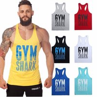 Wholesale Gym Shark Tank Top Men Sport T Shirt Bodybuilding Cotton Singlets Fitness Mens Sleeveless Shirt Vests Muscle Top