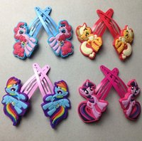 animated bows - My little pony Hair Accessories my little pony Children Head Bows Side Clips Animated Cartoon Headwear BB Clips Hairpin