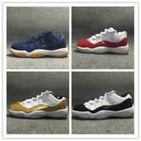 Cheap online air retro 11 blue brown mens sport shoes XI red white Varsity Red Low online 11s boy sneakers White Metallic trainers