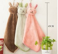 Wholesale 10pcs Cute Rabbit head Coral Velvet Nursery Kids Wipe Hand Towels cleaning accessories dish Kitchen