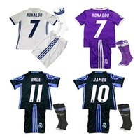 Wholesale Wholesales Real Madrid kids boys kits set Jerseys Football Messi Kits Camisetas De Futbol Chandal Real Uniforms sets Children Ronaldo