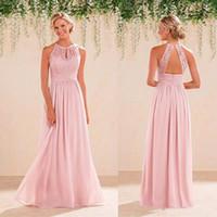 Wholesale 2017 Cheap A Line Lace Chiffon Bridesmaid Dresses A Line Jewel Backless Long Summer Beach Garden Wedding Guest Dresses Evening Party Gowns