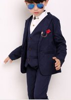 Wholesale 2016 new autumn flower girl dress suit suit boys set of three children