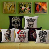 Wholesale Halloween Sugar Skull Pillow Cases cotton Linen Throw Pillow case Pillow Cover Sofa square Pillowcase Cushion Cover Home Textiles