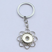 Wholesale 12pcs Fashion men alloy small flower noosa chunks metal ginger snap button keychain fit mm button snaps keyring for men jewelry