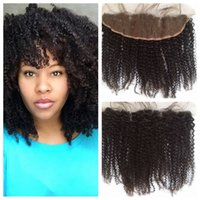 afro hair dye - Mongolian Afro Kinky Curly Lace Frontal Closure Bleached Knots x4 With Baby Hair Can Be Dyed Human Hair