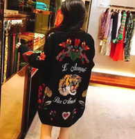 bee cardigan - The winter of ladies fashion luxury socialite embroidered flowers bees butterfly tiger head knitting cardigan sweater coat