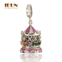 Wholesale Vintage Christmas Carousel Charm Childhood Memory Amusement Park Sterling Silver Pendant Bead With Crystal DIY Silver Jewelry Gifts S243