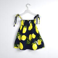 TuTu Summer A-Line Girl Summer lemon pineapple print dress 2016 popular INS braces skirt fruit girl dress 6colors 4size for choose