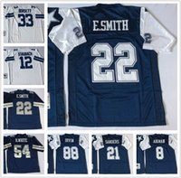 Wholesale Mens Michael Irvin Roger Staubach Troy Aikman Tony Dorsett Emmitt Smith Ezekiel Elliott Throwback Football Jerseys