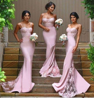 Wholesale Kissbridal Mermaid Bridesmaid Dresses with Spaghetti Straps Lace Bodice Spandex Court Train Cheap Maid of Honor Dress Party Gowns