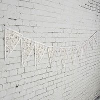 beautiful paper snowflakes - Beautiful Flags Snowflake Bunting Lace Banners Garland Personality Wedding Home Decor Birthday Wall Decoration Paper Crafts M