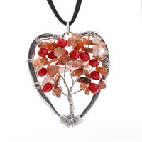 august birthstone jewelry - Heart Tree of Life Necklace Citrine Birthday Wire Tree Pendant Lampwork Heart Bead Jewelry gift August Birthstone