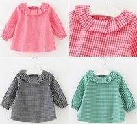 Wholesale Autumn Spring Children shirt Baby Girls Tops Cotton Long Sleeve plaid Shirts cute baby shirt for Girls