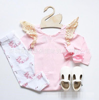 baby flies - 2016 baby girl pink lace fly sleeve rompers swan printed pp pant baby girl ins two piece baby clothing
