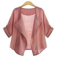 Wholesale 1Pcs Plus Size Women Summer Clothing Casual Loose Cardigans Jacket Coat Blouse Pure Color Cardigan Summer Clothing