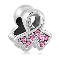 Cheap Fits Pandora Bracelets Silver Pink Ribbon Breast Cancer Awearness Charm Bead For Wholesale Diy European Necklace Jewelry s